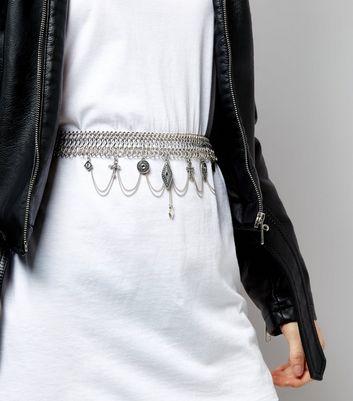 Silver Charm Drop Chain Belt New Look