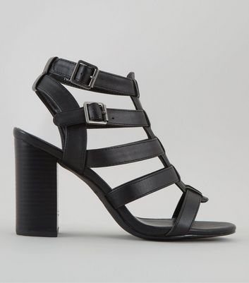 Wide Fit Black Gladiator Block Heels