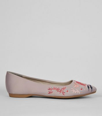 Wide Fit Grey Satin Embroidered Pointed Pumps