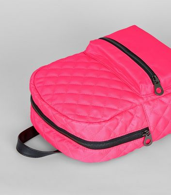 Neon Pink Quilted Backpack New Look