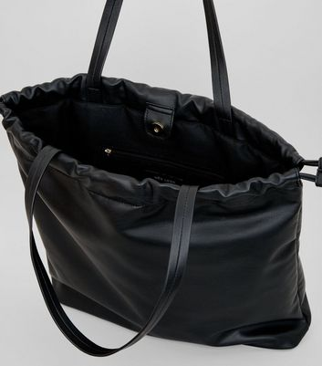 Black Drawstring Tote Bag New Look