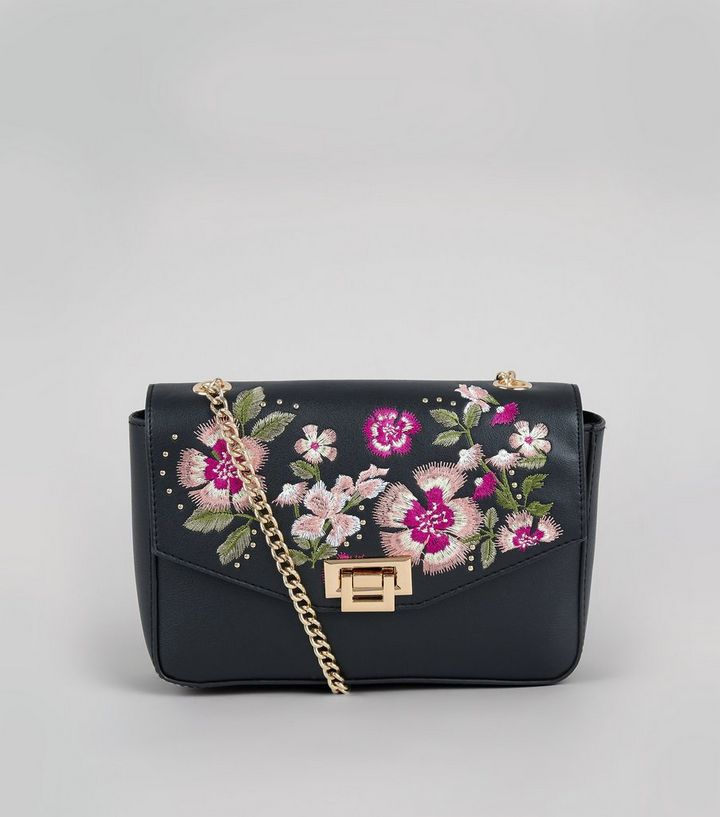 convenience goods best service separation shoes Black Floral Embroidered Chain Strap Shoulder Bag Add to Saved Items Remove  from Saved Items