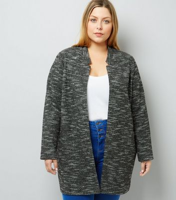 Curves Black Brushed Jersey Longline Jacket New Look