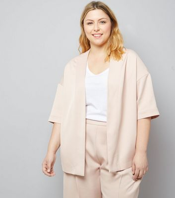 Curves Shell Pink Satin Kimono New Look