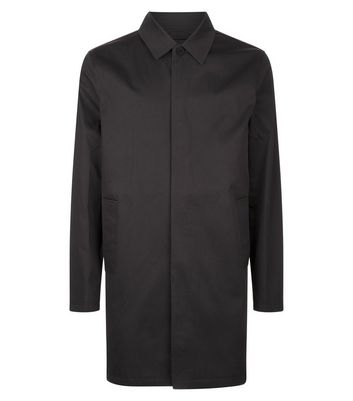 Black Button Front Mac New Look