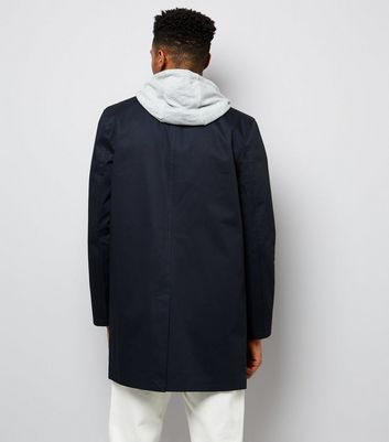 Navy Button Front Mac New Look
