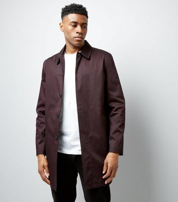 Burgundy Button Front Mac New Look