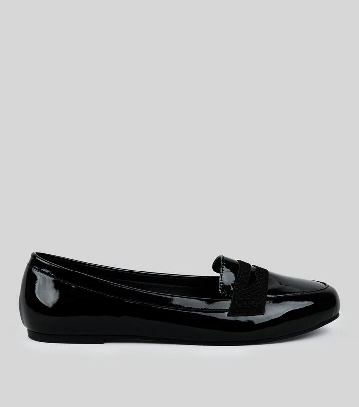 0bd648b5097 Wide Fit Black Comfort Patent Loafers