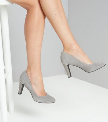 Grey Comfort Suede Metal Trim Court Shoes New Look