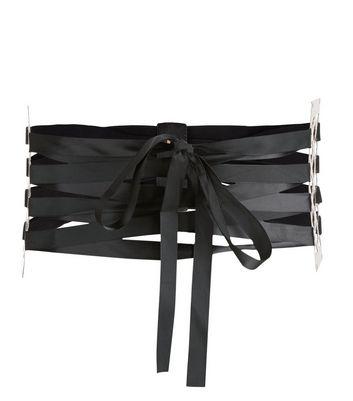 Black Cut Out Metal Plate Lace Up Corset Belt