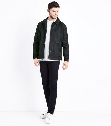 Black Button Front Jacket New Look
