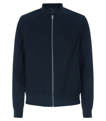 Navy Cotton Bomber Jacket New Look