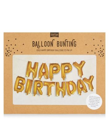 Gold Happy Birthday Balloon Bunting New Look