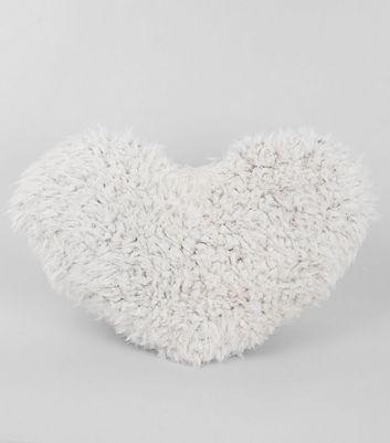 White Faux Fur Heart Cushion New Look