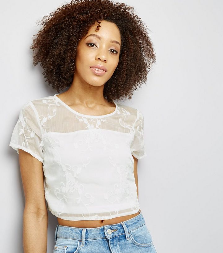 3ea856678cafc4 Parisian White Embroidered Crop Top | New Look