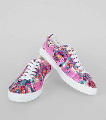 Pink Satin Floral Brocade Trainers New Look