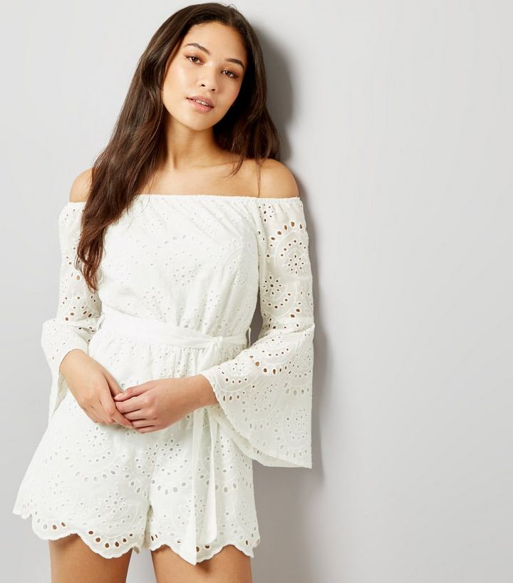 053151817 Parisian White Broderie Flared Sleeve Bardot Neck Playsuit | New Look