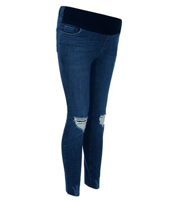 Maternity Blue Under Bump Ripped Knee Skinny Jeans New Look