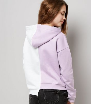 Teens Lilac Asymmetric Spliced Hem Hoodie New Look