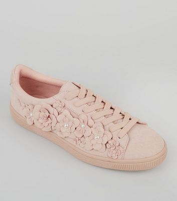 Pink suedette 3d flower trainers new look mightylinksfo