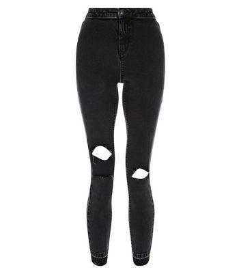 Black Acid Wash Fray Hem Ripped Skinny Hallie Jeans New Look
