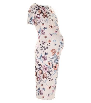 Maternity Pink Floral Print Bodycon Dress New Look