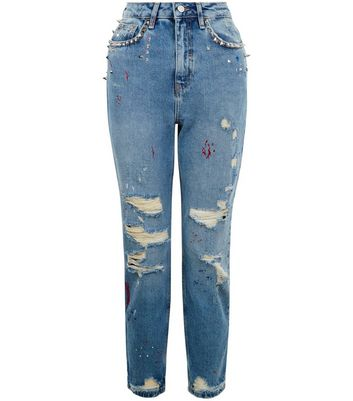 Blue Ripped Stud Trim Mom Jeans New Look