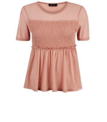 Mid Pink Shirred Mesh Top New Look