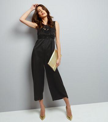 Mela Black Embossed Panel Sleeveless Jumpsuit New Look
