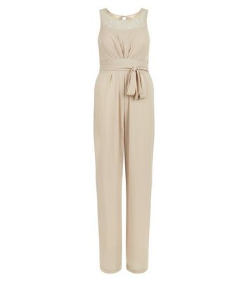 Mela Cream Tie Waist Sleeveless Jumpsuit New Look