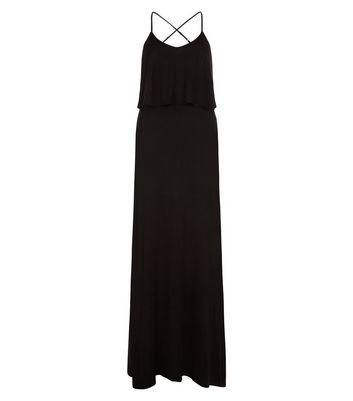 Black Layered Cross Strap Back Maxi Dress New Look