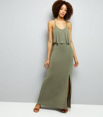 Khaki Layered Cross Strap Back Maxi Dress New Look