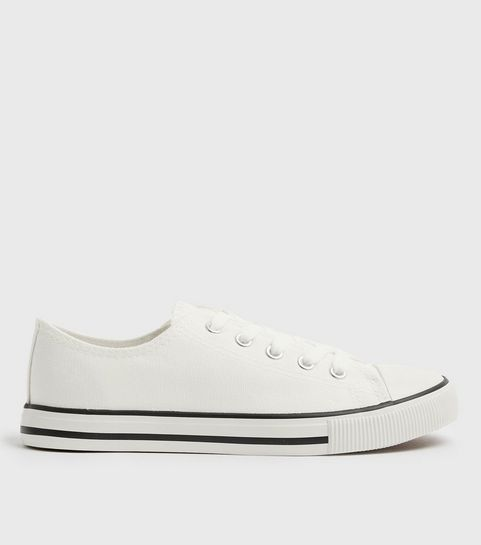 599d84b1a9bb White Canvas Stripe Sole Trainers · White Canvas Stripe Sole Trainers ...