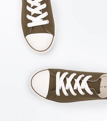 Khaki Canvas Stripe Sole Trainers New Look