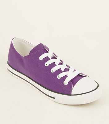 Purple Canvas Stripe Sole Trainers