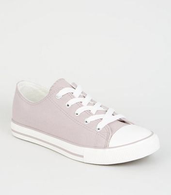 Lilac Canvas Stripe Sole Trainers