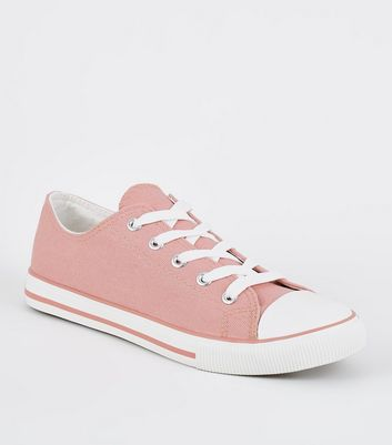 Pink Canvas Stripe Sole Trainers