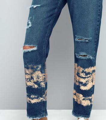 Blue Ripped Foil Print Tori Mom Jeans New Look