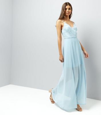 Pale Blue Lace Panel Strappy Maxi Dress New Look