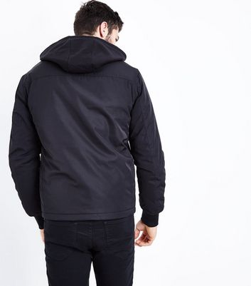 Black Jersey Hooded Jacket New Look