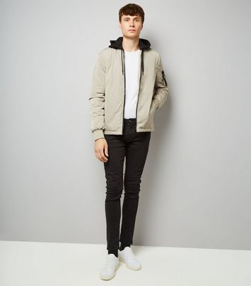Stone Jersey Hooded Bomber Jacket New Look