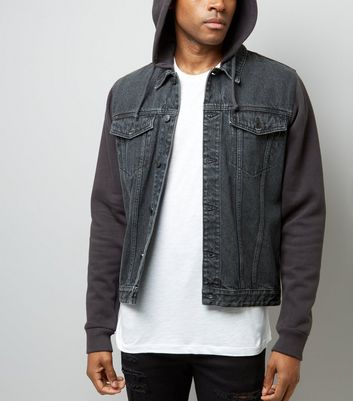 Black Jersey Sleeve Denim Jacket New Look