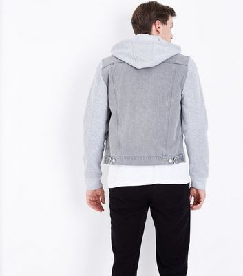 Grey Jersey Sleeve Denim Jacket New Look