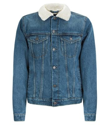Blue Borg Lined Denim Jacket New Look
