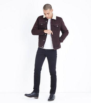 Burgundy Borg Lined Denim Jacket New Look