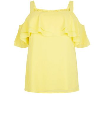 Curves Yellow Cold Shoulder Frill Trim Top New Look