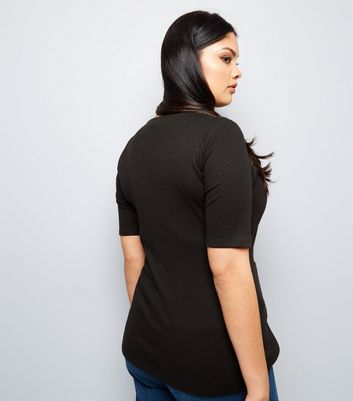 Curves Black Eyelet Lace Up Ribbed Short Sleeve Top New Look