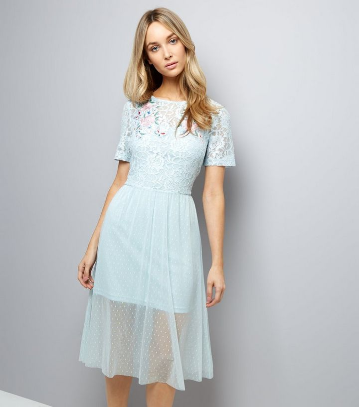 afa0d634a Pale Blue Lace Embroidered Skater Dress   New Look