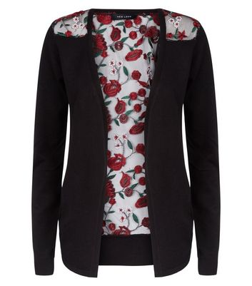 Black Mesh Floral Embroidered Back Cardigan New Look