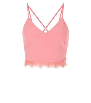 Pink Lace Trim Bralet New Look